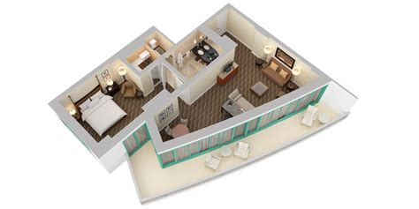 1 Room Floor Plans 3d - curio a collection by resort 3d