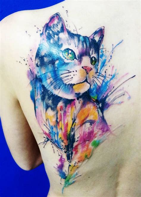 cat watercolor tattoo 71 best cat tattoos design mens craze