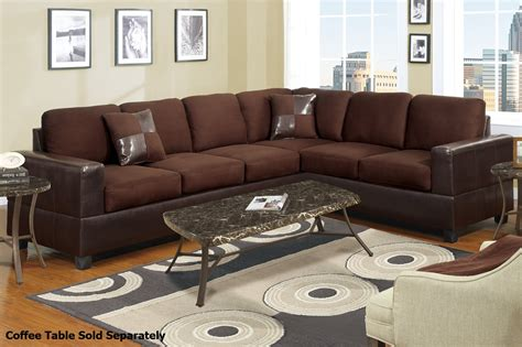 Brown Fabric Sectional Sofa Poundex Playa F7631 Brown Fabric Sectional Sofa A Sofa Furniture Outlet Los Angeles Ca