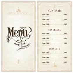 Vintage Menu Template by Restaurant Or Cafe Menu Vector Design Template Vintage
