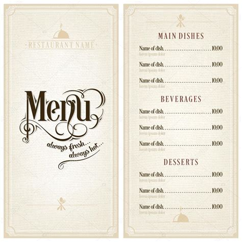 vintage menu template restaurant or cafe menu vector design template vintage