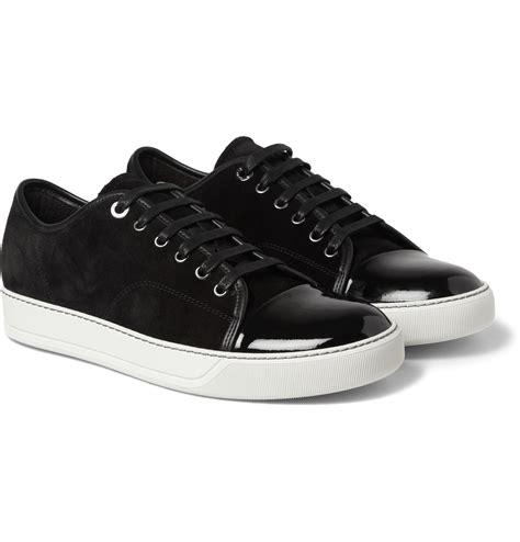 leather sneakers for lanvin cap toe suede and patent leather sneakers in black for lyst