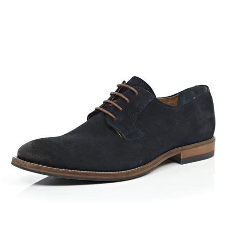 river island navy nubuck formal shoes in blue for lyst