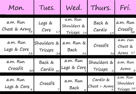 workout calendar printable and downloadable