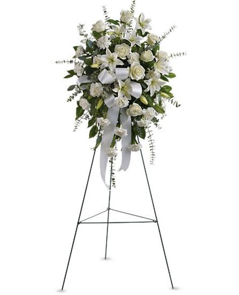 White Lily Vase Sentiments Of Serenity Spray Sympathy Arrangement Teleflora