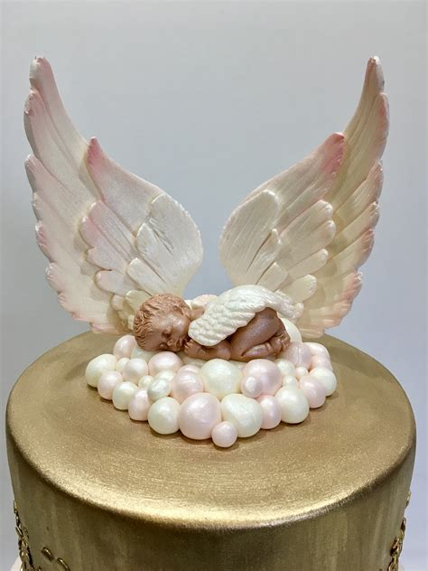 Cocolatte Angelbay 2 mymonicakes heaven sent baby shower cake with fondant wings and sleeping baby