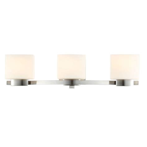 Vanity Lighting Bathroom Lighting The Home Depot Hton Bay 3 Light Brushed Nickel Vanity Light With Etched White Glass Shades 25090 The Home