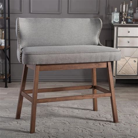 baxton studio bar bench baxton studio gradisca gray fabric upholstered bar bench