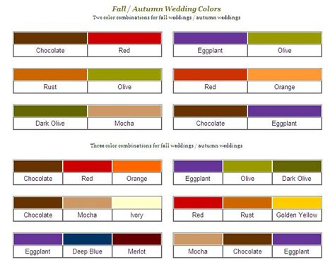 color combination suggestions autumn wedding colors and ideas budget brides guide a