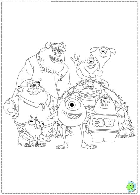 Monsters U Coloring Pages by Monsters Coloring Page Dinokids Org