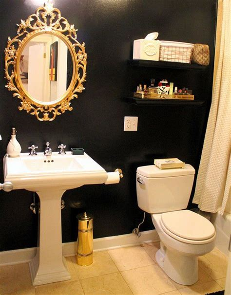 gold bathroom ideas navy blue walls with gold accents would be beautiful