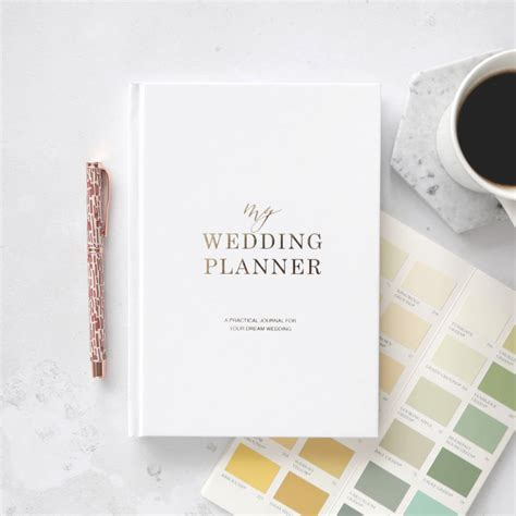 gold foil wedding planner book   engagement gift by blush