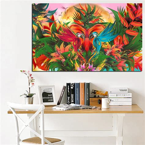 bird oil painting canvas wall art home decor living room print tropical jungle flowering bird of paradise abstract