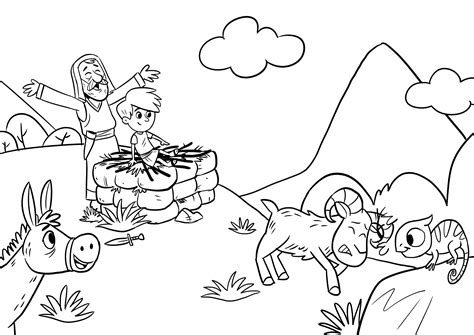 Coloring Page Isaac And Abraham by Spectacular Abraham And Isaac Coloring Page 44 For Your