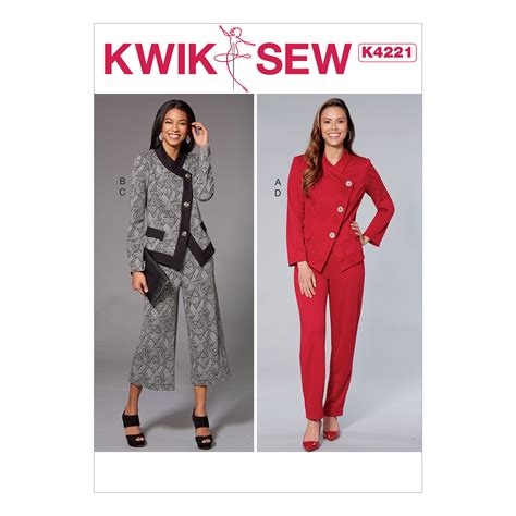 pattern review kwik sew 3601 kwik sew 4221 misses unlined jacket and pull on pants