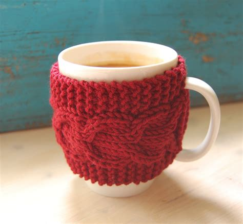 Knit coffee mug cozy with cable pattern hand knitted by wooolmint