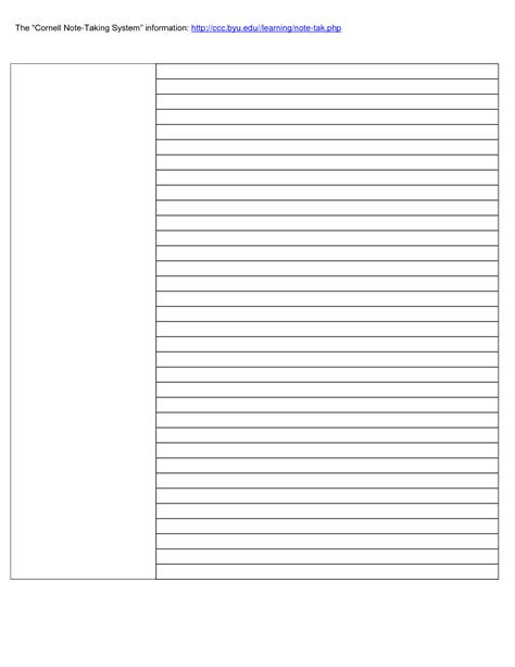 cornell notes template doc cornell notes template word document pictures