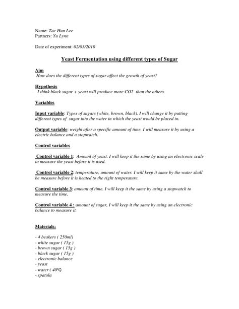 prac report template lab report yeast