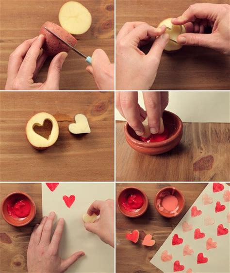 cute homemade valentine ideas diy valentine gifts wrapping paper heart potatoe cookie