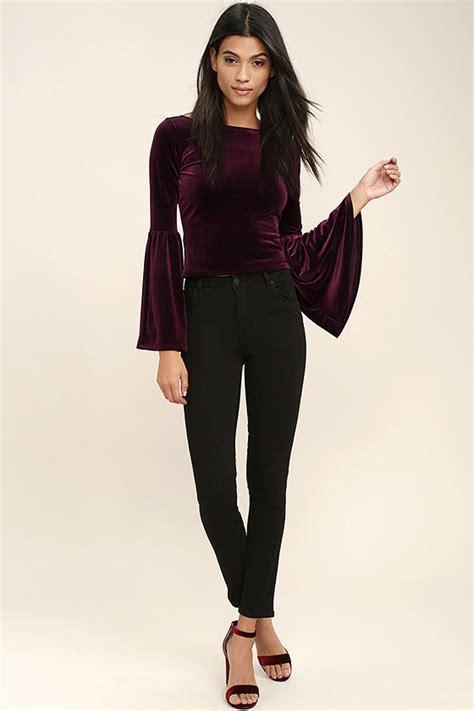 Sleeve Velvet Top chic burgundy top velvet top crop top sleeve