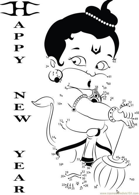 new year join the dots hanuman wishing new year dot to dot printable worksheet