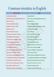 english teaching worksheets common mistakes