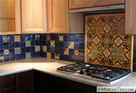 mexicantiles kitchen backsplash with decorative mural using angeles talavera mexican tile