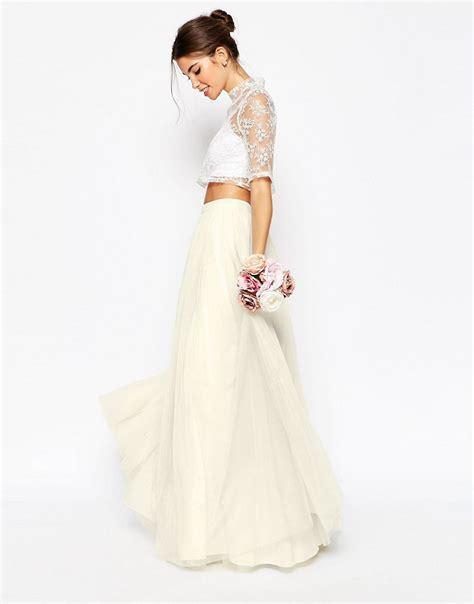 asos asos bridal maxi skirt in tulle at asos