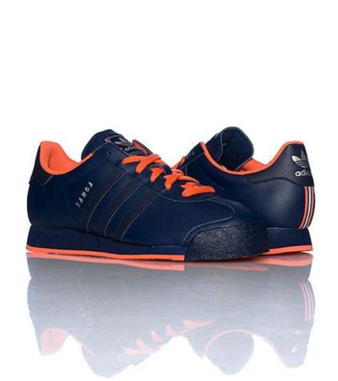 adidas samoa leather navy blue orange casual mens sneakers shoes d74118 ebay