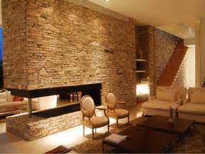 interior rock wall interior calming modern interiors with stone wall