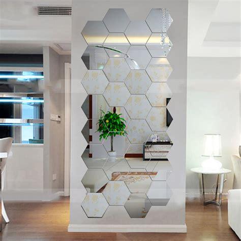 decorar espejos con stickers hexagonal 3d mirrors wall stickers home decor living room
