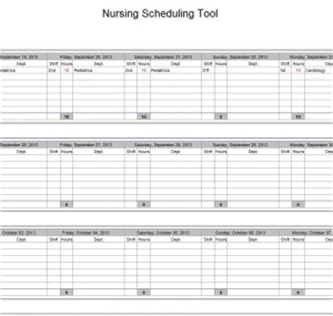 Hospital Nurse Schedule Excel Template Nurse Schedule Template Nursing Schedule Template