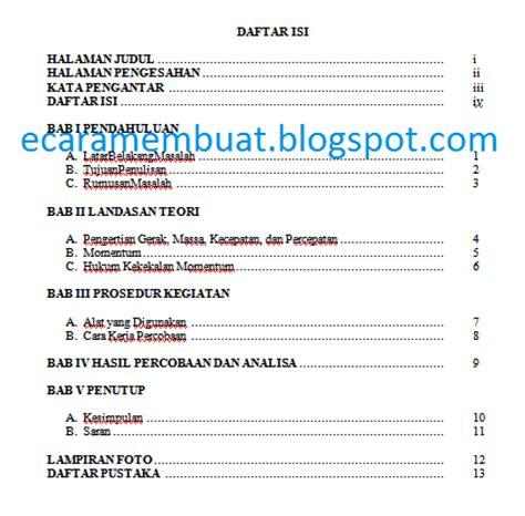 boiklop  membuat daftar isi makalah  tab
