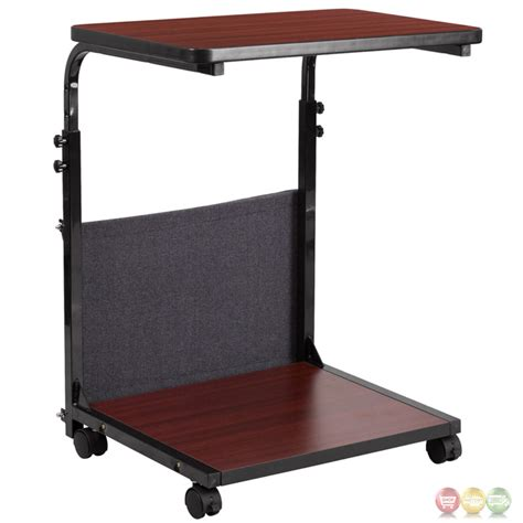 Mobile Standing Mahogany Computer Desk Adjustable Range 27 Mobile Standing Desk