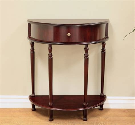 Half Circle Entry Table Half Moon Circle Table Accent Console Foyer Drawer Entry Cherry Den Office Ebay