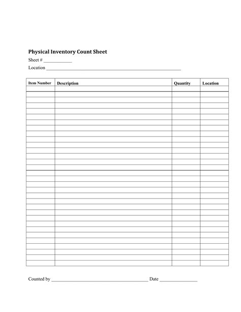 food inventory template ms excel printable food inventory list