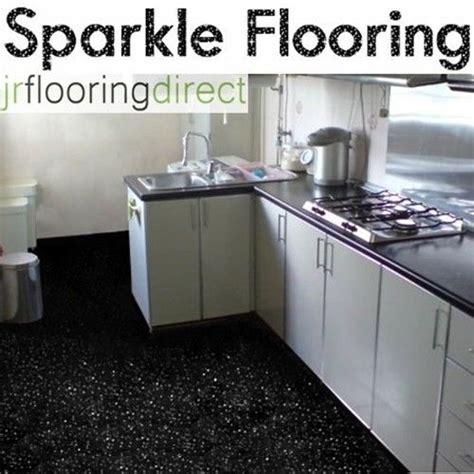 BLACK Sparkly Kitchen Flooring / Glitter Effect Vinyl