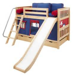 Toddler Bunk Bed With Slide Maxtrix Low Bunk Bed W Angled Ladder And Slide