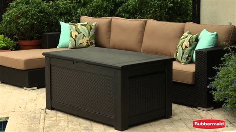 rubbermaid patio chic storage bench