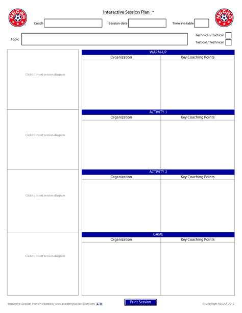 session plan template interactive session plans academy soccer coach asc