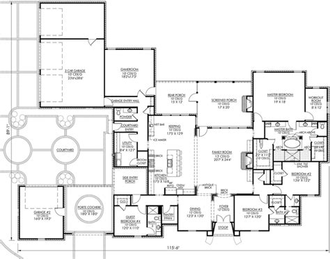4000 sq ft floor plans french country style house plans 4000 square foot home 1 story 4 bedroom and 3 3 bath 3