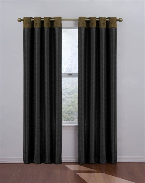 black window curtains venetian blackout grommet window drape in black size 52