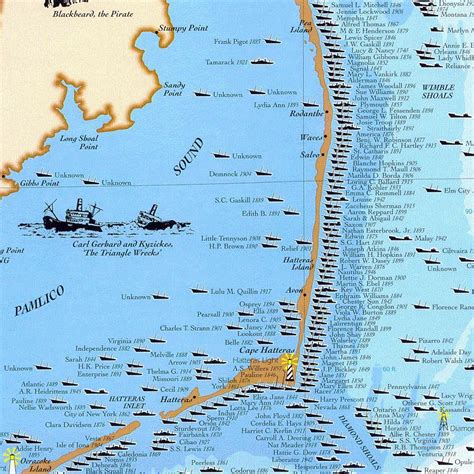 obx map shipwrecks of the outer banks carolina