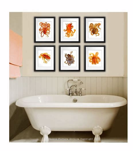 posters for home decor vintage octopus set of 6 prints orange cephalopod beach