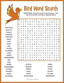 birds word search puzzle early finishers activities and