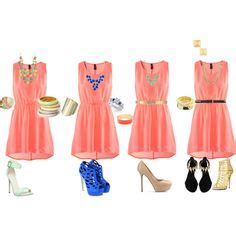 coral dress accessories on