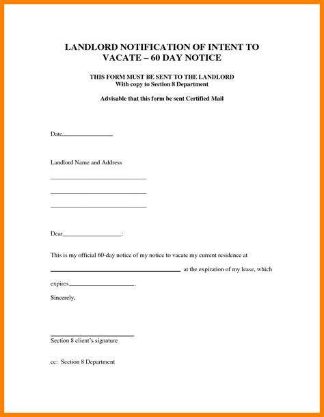 template letter notice rented property 13 template notice to vacate rental property g unitrecors