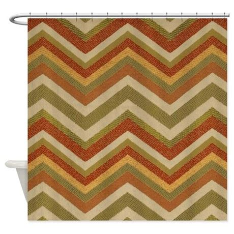 burlap chevron curtains burnt orange burlap zigzags shower curtain by