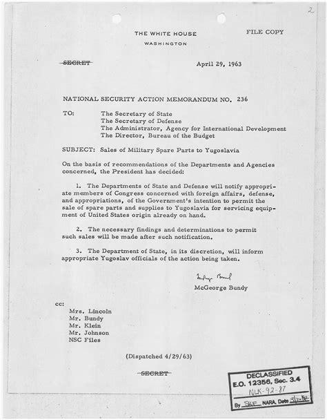 sle of memorandum file national security memorandum no 236 sales of spare parts to yugoslavia