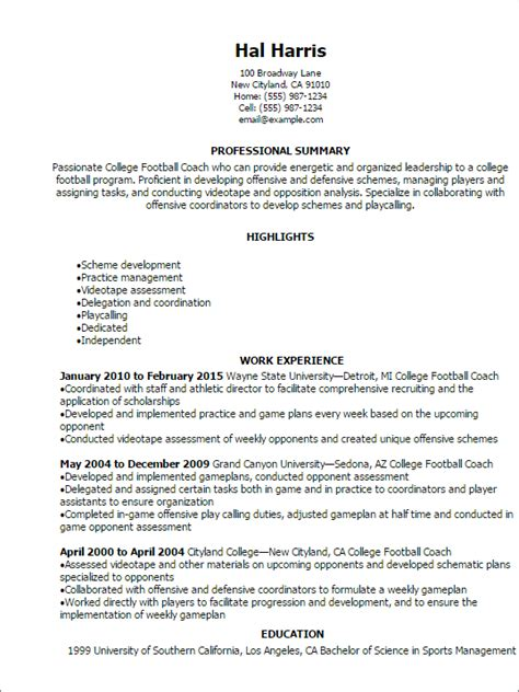 Football Coach Resume by College Football Coach Resume Template Best Design